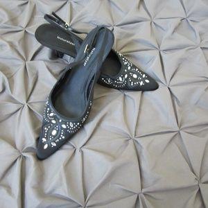 Naturalizer Black Satin/Crystal Slingback Shoe